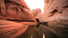 Red Sandstone Cliffs Beside Lake Powell Stock Footage