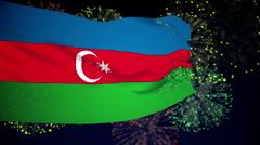 Flag of Azerbaijan - stock footage