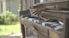 Abandoned Broken Piano (hand held shot) Stock Footage