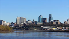 Kansas City Skyline from the River Stock Footage