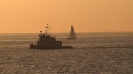 Stock Video Footage of tugboat sunset
