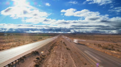 Time-lapse Traffic on Desert Highway Stock Footage