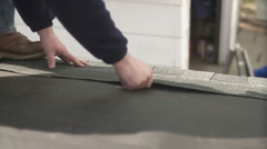 Shingles nailed on a new roof. Stock Footage