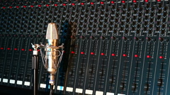 Audio mixer and microphone Stock Footage