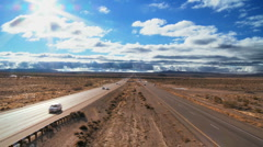 Traffic on a Desert Highway - stock footage
