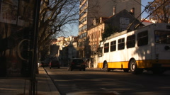 Side shot of electric bus in Coimbra Stock Footage