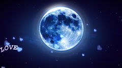 Heart Shaped Moon and Lovely Night  Stock Footage