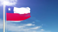 Chile flag waving Stock Footage