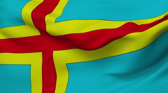 Aland Islands flag slowly waving.  Stock Footage