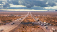 Stock Video Footage of Time-lapse Traffic on Desert Highway