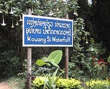 Tat Kuang Si waterfall, billboard Stock Footage