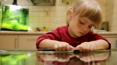 The little girl fell asleep with a book. - stock footage