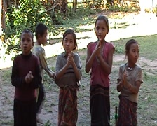 Khmu children singing Stock Footage