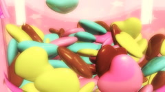 Candy Jar Filled with Conversation Hearts Stock Footage