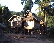 Khmu stilt houses Stock Footage