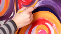 Hand painting on Canvas with Brush Stock Footage