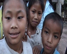 Khmu children in front of camera Stock Footage
