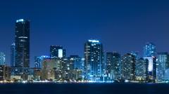 Time lapse of Miami skyline at night Stock Footage