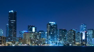 Stock Video Footage of Time lapse of Miami skyline at night