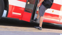 Boarding bus 2989 Stock Footage