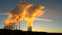 Steam Generating Power Station at Sunrise - stock footage