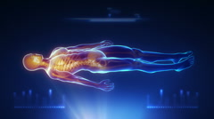 Human body medical scan projection - stock footage