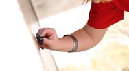 Artist drawing on wall Stock Footage