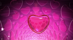 Diamond Heart with Small Ruby Hearts Stock Footage