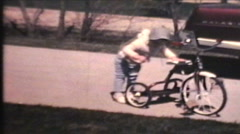 Kids Riding Bikes (1970 Vintage 8mm film) Stock Footage