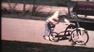 Stock Video Footage of Kids Riding Bikes (1970 Vintage 8mm film)