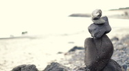 Stock Video Footage of Zen stones on a beach