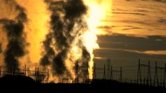 Desert Energy Production Steam at Sunrise - stock footage