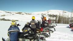 Snowmobile riders on mountain GP HD 11 Stock Footage