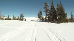 Snowmobile through mountain top HD GP 12 Stock Footage