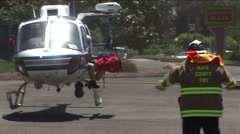 Helicopter Lands - Exterior Close Up - stock footage
