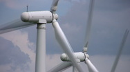Closeup on Windfarm at Royd Moor, South Yorkshire Stock Footage