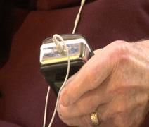 Arthritic Elderly mans Hand with iPod - stock footage