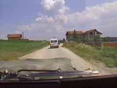 Drive plate, through Croat Bosnian border, post war 1996 Stock Footage
