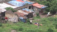 Dilapidated Slum Rooftops in Ethiopia - stock footage