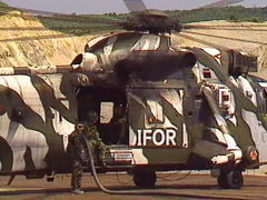 military,British RAF sea king helicopter hot refuel close up high speed shutter  - stock footage