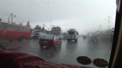 POV heavy rain in Addis Ababa cab - stock footage