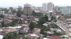 African rusted rooftops and wide city view - stock footage