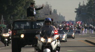 Police escort - Martin Luther King Parade - Los Angeles 2011 Stock Footage