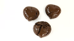 Chocolate Hearts White Background Stock Footage