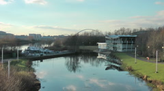 Water Sport Centre on River Tees Stock Footage