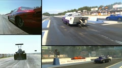 Motorsports, drag race montage 1 Stock Footage