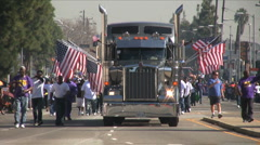 Big Rig truck - Martin Luther King Parade - Los Angeles 2011 - stock footage
