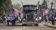 Big Rig truck - Martin Luther King Parade - Los Angeles 2011 Stock Footage