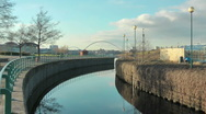 Stock Video Footage of Entrance to lock at Tees Barrage, close to White Water Course