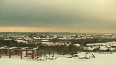 Looking out over snow covered city Stock Footage